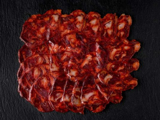 Chorizo ibérico extra de cebo cortado