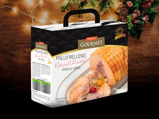Pollo de Navidad relleno asado